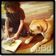 dude reading to dog
