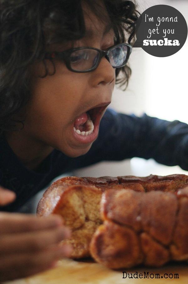 hungry kid eating