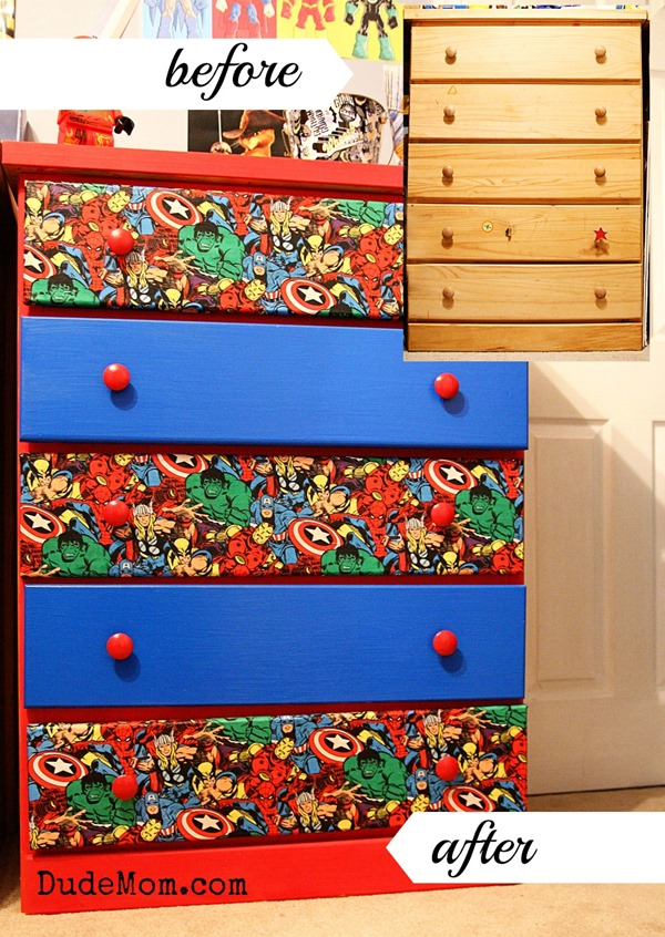 Boys room ideas diy superhero dresser makeover dude mom diy dresser makeover solutioingenieria Gallery