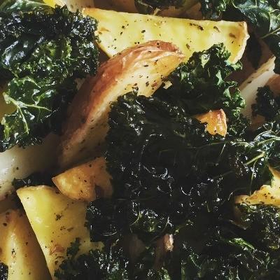 roasted potates kale