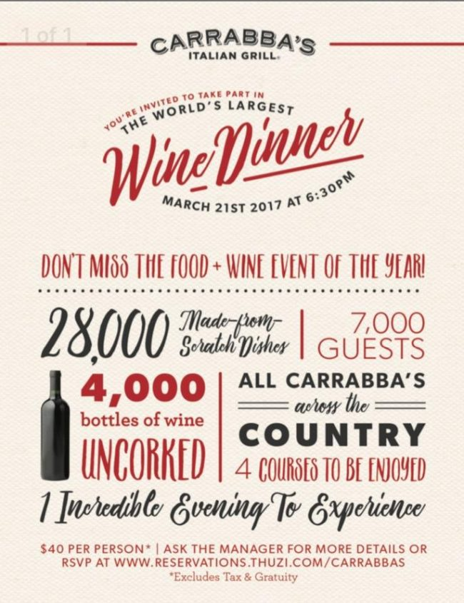carrabbas wine dinner