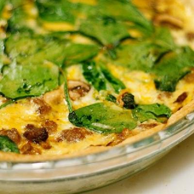 Easy Sausage, Mushroom, Spinach Quiche Recipe