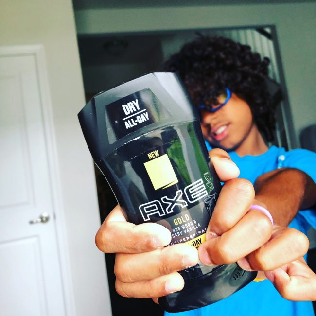 Teaching your son personal hygiene with axe