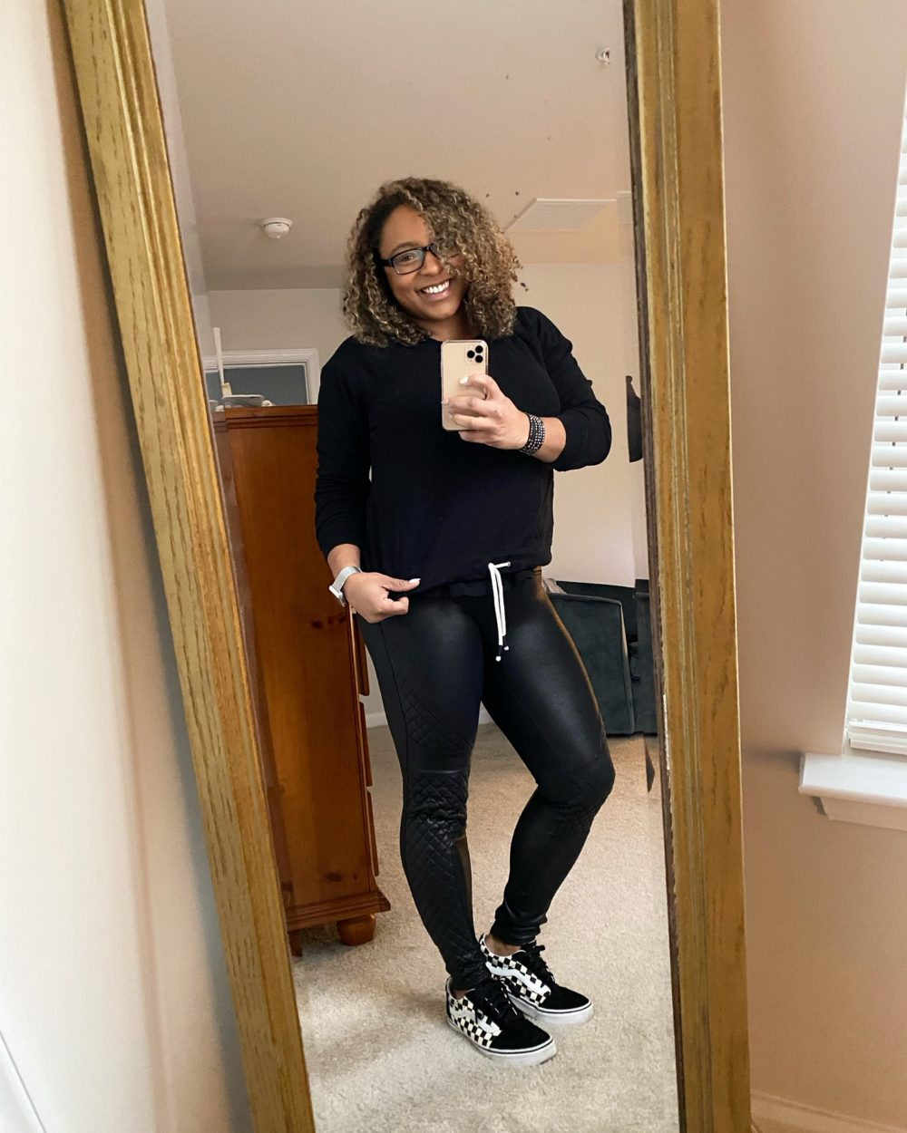 how to style leather leggings with sneakers