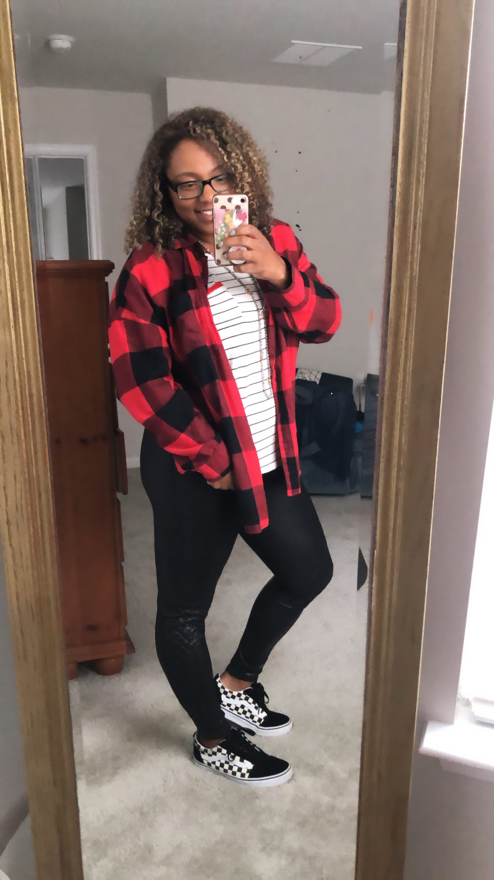 how to style leather leggings with plaid